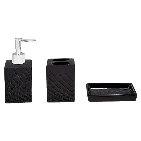 Amazon Basics Jeu de 3 accessoires pour salle de bain en céramique, noir