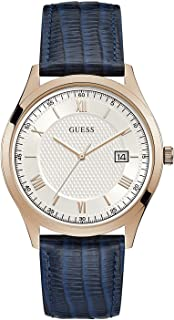 Guess W1182G2 Men's Rose Gold Tone Blue Leather Band White Date Sunray Dial Watch