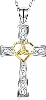 Women Religious Jewelry 925 Sterling Silver Two-Tone Eternal Love Heart Celtic Knot Cross Pendant Necklace