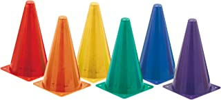 Champion Sports Hi Visibility Fluorescent Plastic Cone Set, Set of 6