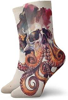 N\A, Los mejores diseños de tatuajes de calavera de pulpo calcetines de compresión antideslizantes calcetines deportivos acogedores de 11,8 pulgadas para hombres, mujeres y niños