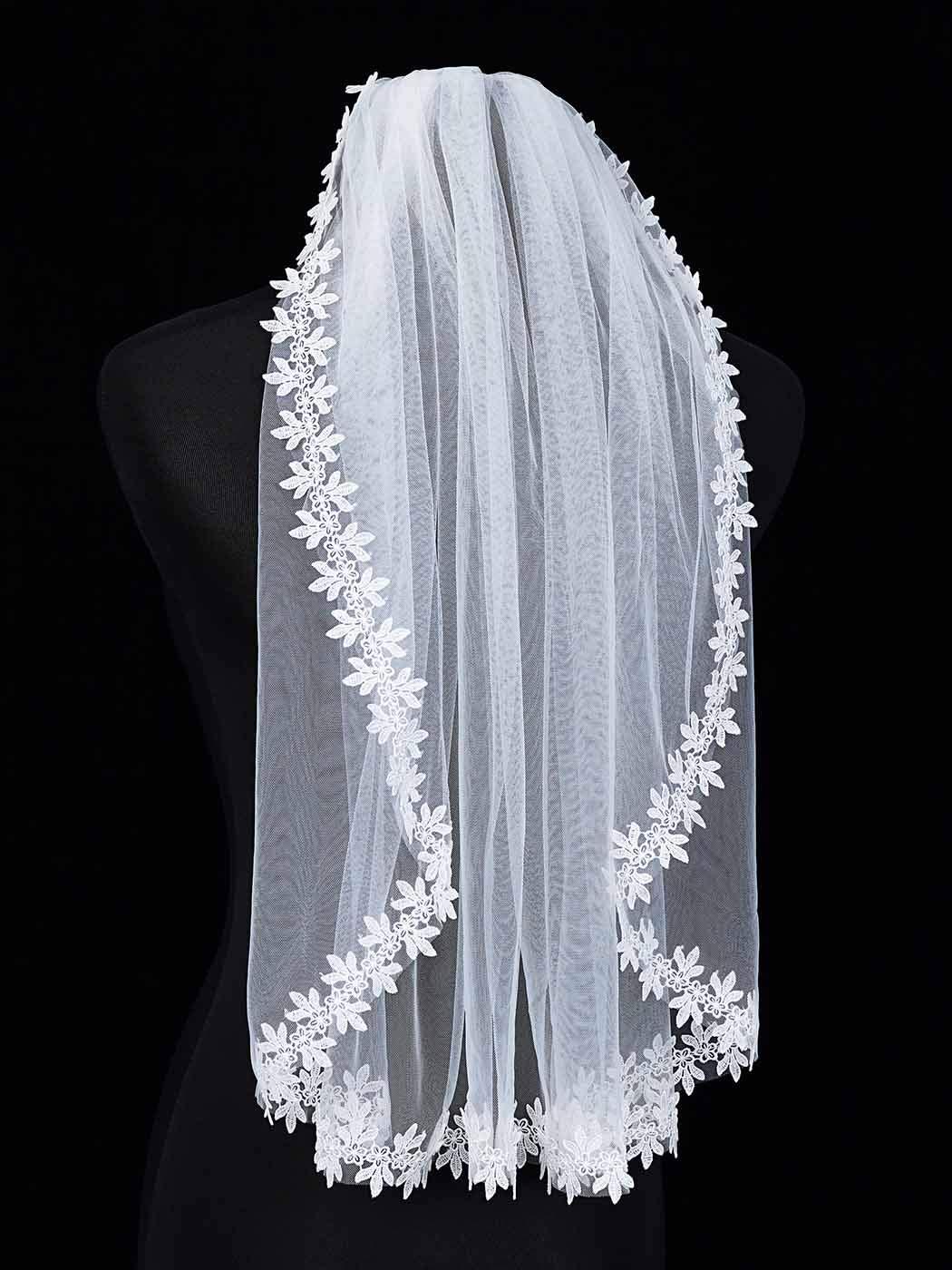 Yokawe Women's Bridal Wedding Veil 1 Tier Lace Applique Edge Bride Veils with Comb White Wedding Headpiece (White)