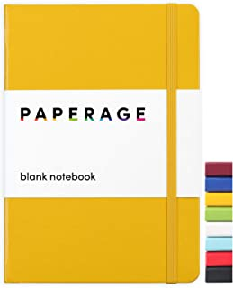 Paperage Journal Blank Page Notebook, Hard Cover, Medium 5.7 x 8 inches, 100 gsm Thick Paper (Yellow, Plain)