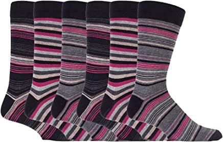 Sock Snob - 6 Pack Mens Cotton Rich Colorful Striped Crew Dress Socks 6 Designs
