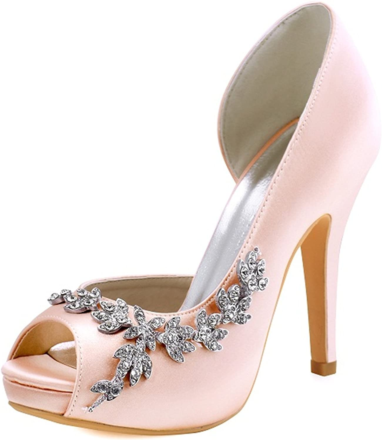 Gome-z Women Platform High Heels Bridal Wedding shoes Ivory White Rhinestones Peep Toe Bride Bridesmaids Prom Pumps Burgundy HP1560IAC