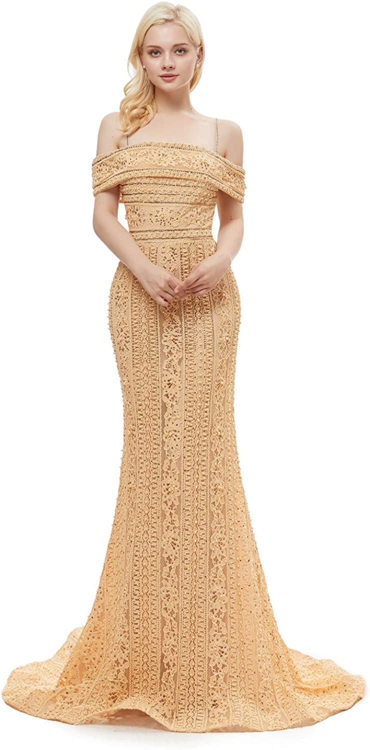 Darcy74Dulles Women's Boat Neck Champagne Pink Mermaid Long Evening Dress Lace Robe De Soiree 2018