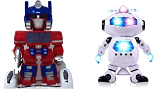 Simply Works Imports Toy Robots for Boys Girls Toddlers 2 Pack Lights up Spinning with Music Sings Dances Bump and Go Great Gift