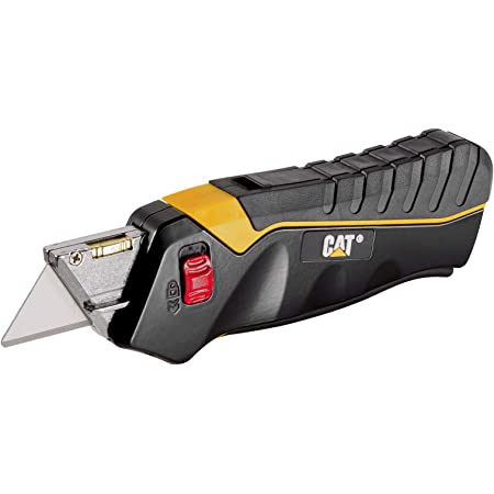 Cat Safety Utility Knife Box Cutter Self-Retracting Blade, Squeeze Handle to Extend Blade, Release to Retract, Lock Blade Open w/Switch, Ergo Handle w/ 3 Safety-Tip Blades That Store Inside - 240071