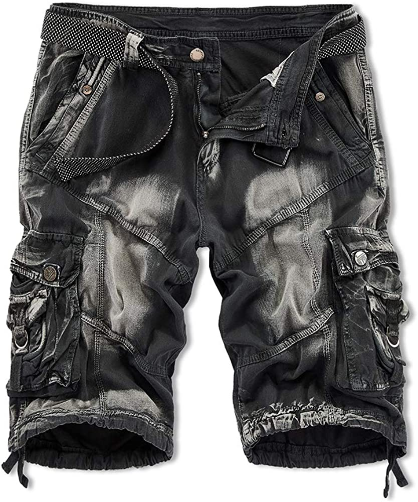 XIONG TAI Mens Cargo Shorts Relaxed Fit Multi-Pocket Outdoor Shorts