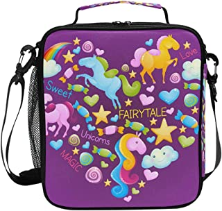 Sac à déjeuner isotherme violet avec motif licorne - Sac à déjeuner carré portable - Grande capacité - Pour voyage, pique-...