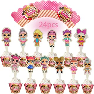 24PCS LOL Cake Topper Decorative Supplies,12pcs lol cake topper 12pcs lol Cupcake Wrappers Claw lol Party Birthday Party Gifts Great Party Cupcake Decorations