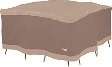 Duck Covers Elegant Water-Resistant 92 Inch Square Patio Table & Chair Set Cover