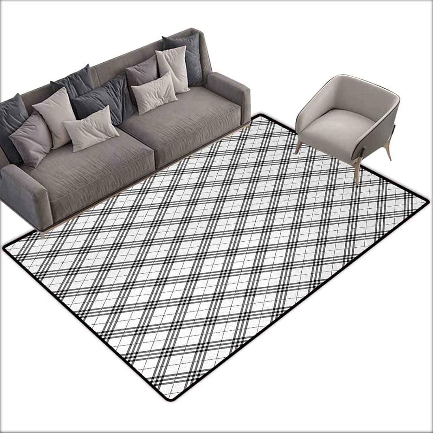 Interior Door mat Bathroom mat Slip Geometric Fashion Fabric Textured Diagonal Scottish Irish Minimalist Design Pattern Print W70 xL82