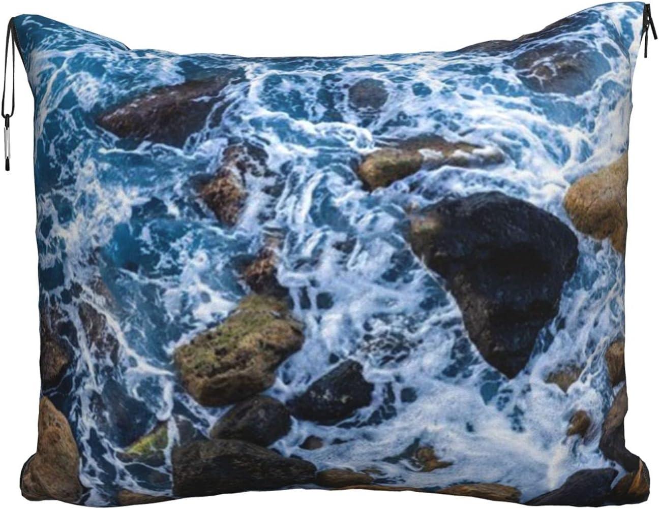 Sea Stones Printed Austin Mall Travel Blanket Velvet 2-in-1 Com Regular store Pillow Soft