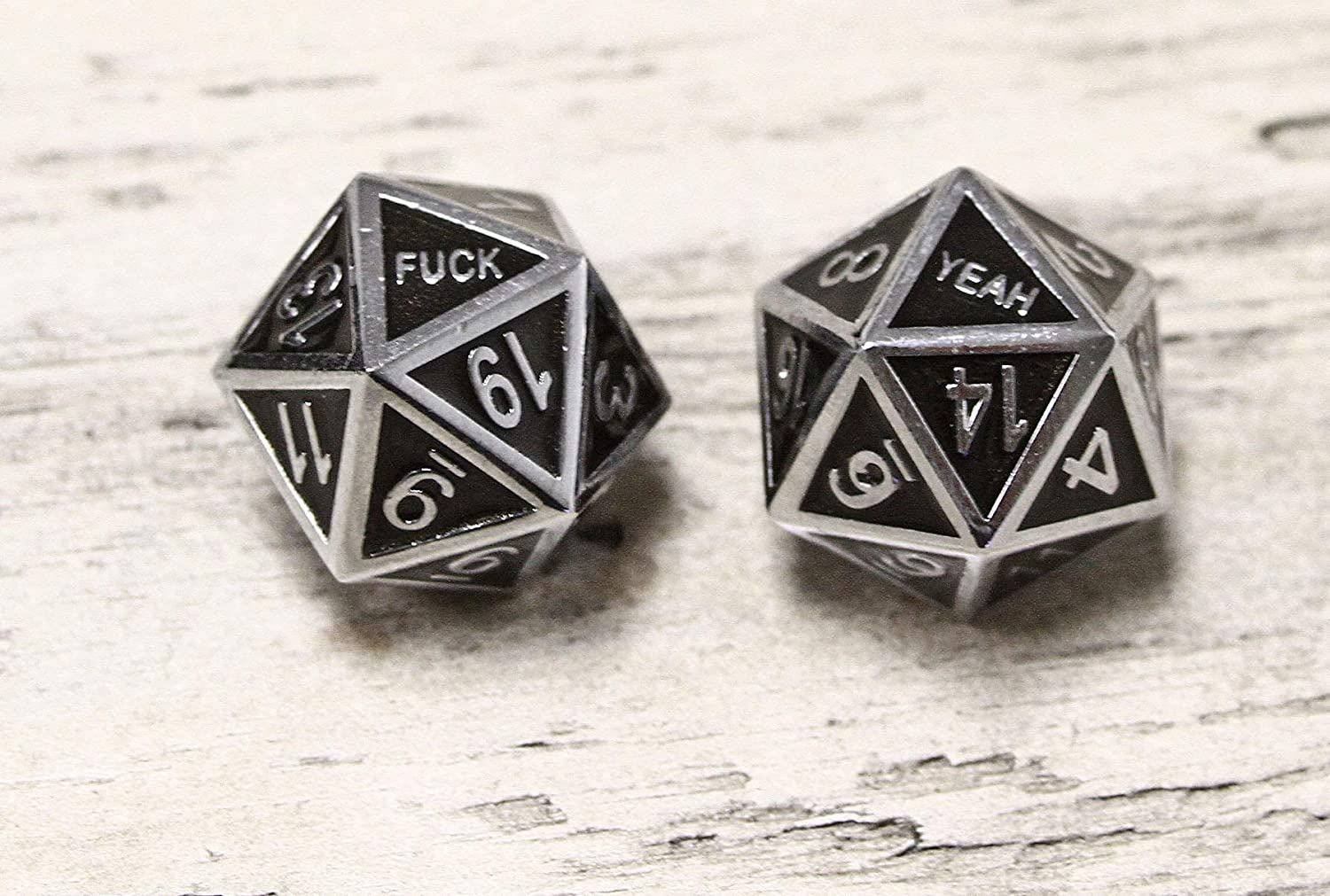 Forged Dice Co Polyhedral Dice Set with Dice Storage Tin Metal Dice Fuck Yeah D20 Set of 2 Metal DND Dice and Gaming Dice for Dungeons and Dragons RPG Games