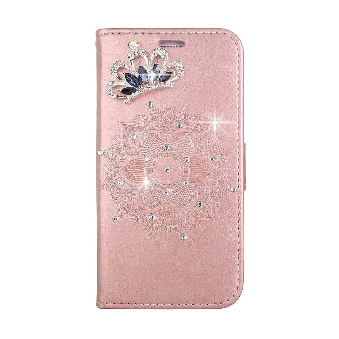 見習いカヌーキルトOMATENTI Galaxy A5 2017 ケース, ファッション人気ダイヤモンドの輝きエンボスパターン PUレザー 落下防止 財布型カバー 付きカードホルダー Galaxy A5 2017 用,ピンク
