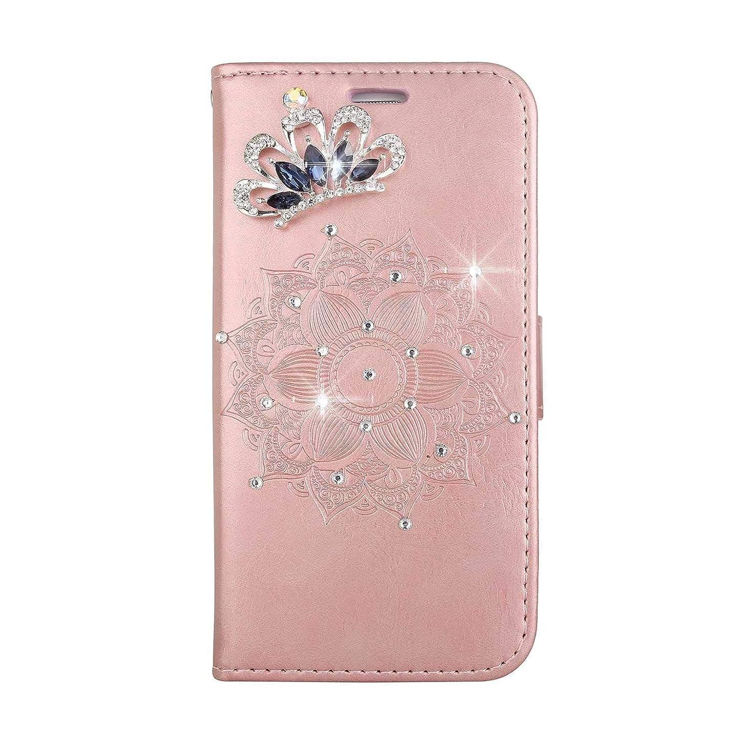 成熟なぜならテロOMATENTI Galaxy S6 Edge ケース, ファッション人気ダイヤモンドの輝きエンボスパターン PUレザー 落下防止 財布型カバー 付きカードホルダー Galaxy S6 Edge 用,ピンク