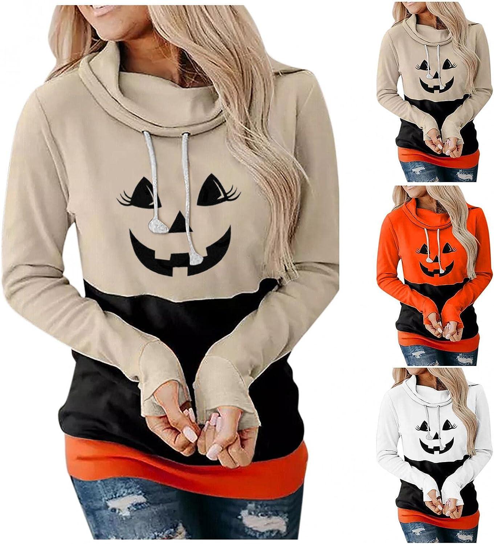 Fudule Halloween Shirts for Women, Sweatshirts Funny Skull Pumpkin Graphic Costumes Casual Lightweight Hoodies Pullover