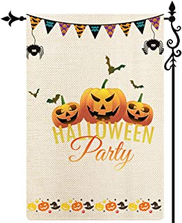 Coskaka Halloween Party Garden Flag Trick Or Treat Pumpkin Ghost Garden Flag Vertical Double Sided Rustic Farmland Burlap ...