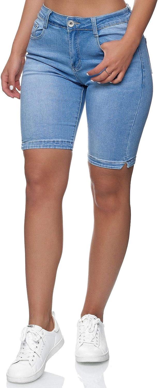EGOMAXX Shorts en Jean pour Femmes Pantalons Bermuda Oversize