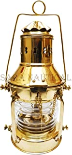 Sara Nautical Vintage Style Lantern Shiny Brass Oil Lamp Decor 13'' Ship Lantern