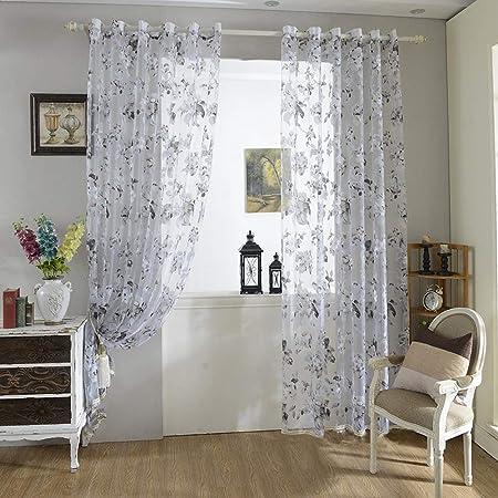 Amazon De Urijk Transparent Gardine Vorhang Aus Voile Fenster Dekoration Blumen Farboffsetdruck