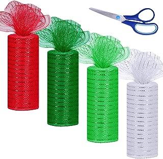 Winlyn 4 Rolls Christmas Mesh Ribbon Metallic Red Green White Mesh Ribbon Decorative Mesh Rolls Spool-6