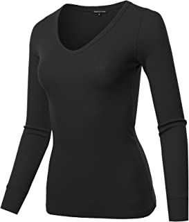 Made by Emma Women's Basic Casual Solid Long Sleeve V-Neck Thermal Tops
