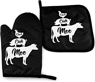 Farm Anilmals Silhouette Chicken Pig Cow Heat Resistant Oven Mitts And Pot Holders Set For Kitchen-Soft Cotton Lining With...
