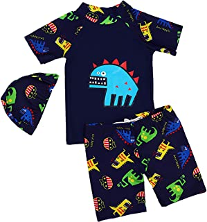 SERAIALDA Baby Kids Boys Two Pieces Short Sleeve Swimwear Dinosaur Print Rash Guard Sun Protection Swimsuit Set with Caps