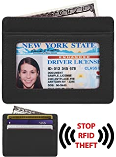 Black Credit Card ID starter Slim Thin Leather Wallet Holder for Auto Car Insurance Registration Driver License Car Document ID with Strong Magnetic