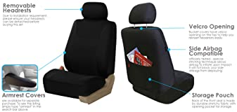 FH Group FB030BLACK115 Full Set Seat Cover (Side Airbag Compatible with Split Bench Black)