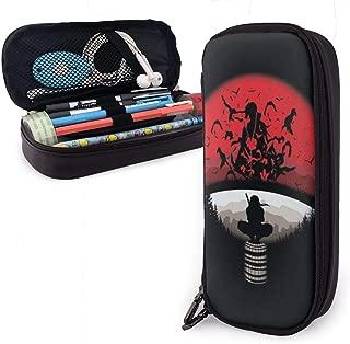 ENQLwju1 Naruto-Logo-Uzumaki Leather Pencil Case Holder Office Buggy Pouch Zipper Pen Stationery Bags