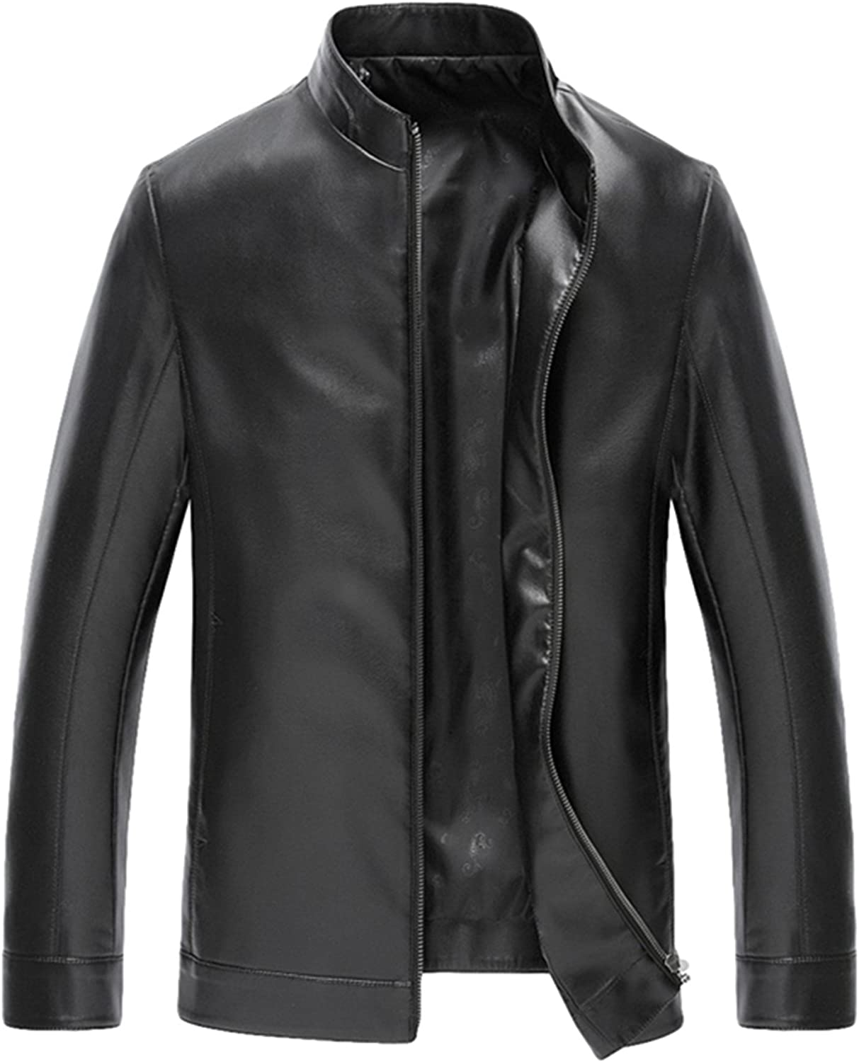 Men's leather Fit leather Leisure zipper leather jacket