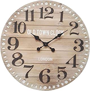 9e73c40ba Rebecca Mobili Reloj industrial grande, de pared, metal, madera de mdf,  redondo