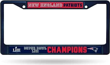 Rico Industries, Inc. New England Patriots Super Bowl LIII Champions Blue Chrome Frame Metal License Plate Tag Cover Football