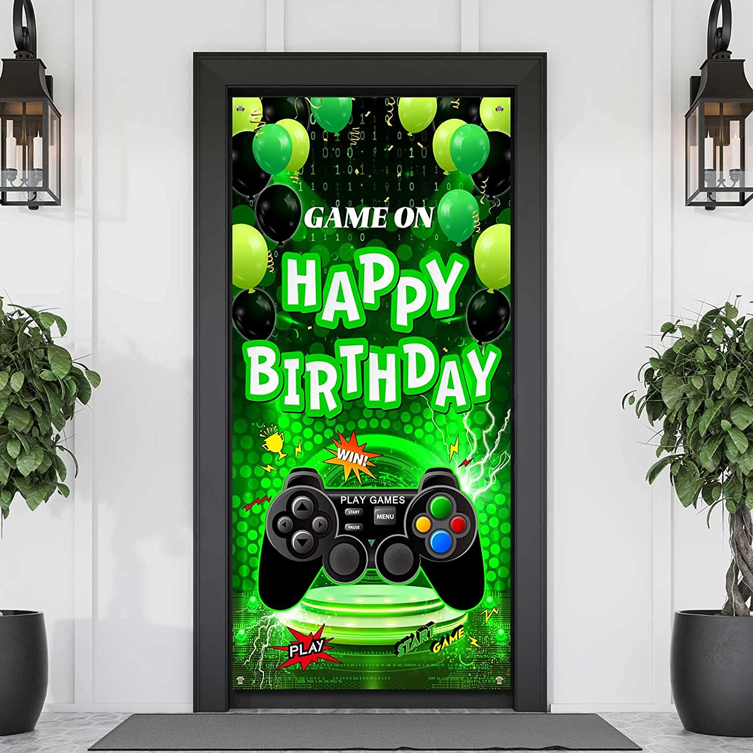 Video Game Free Max 43% OFF shipping New Door Banner Party Birt On Decorations