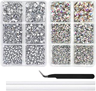LJHSZ 5040pcs AB Crystal and Clear Hotfix Rhinestones Set 6 Mixed Size Crystal Flatback Rhinestones for Crafts Round Glass...