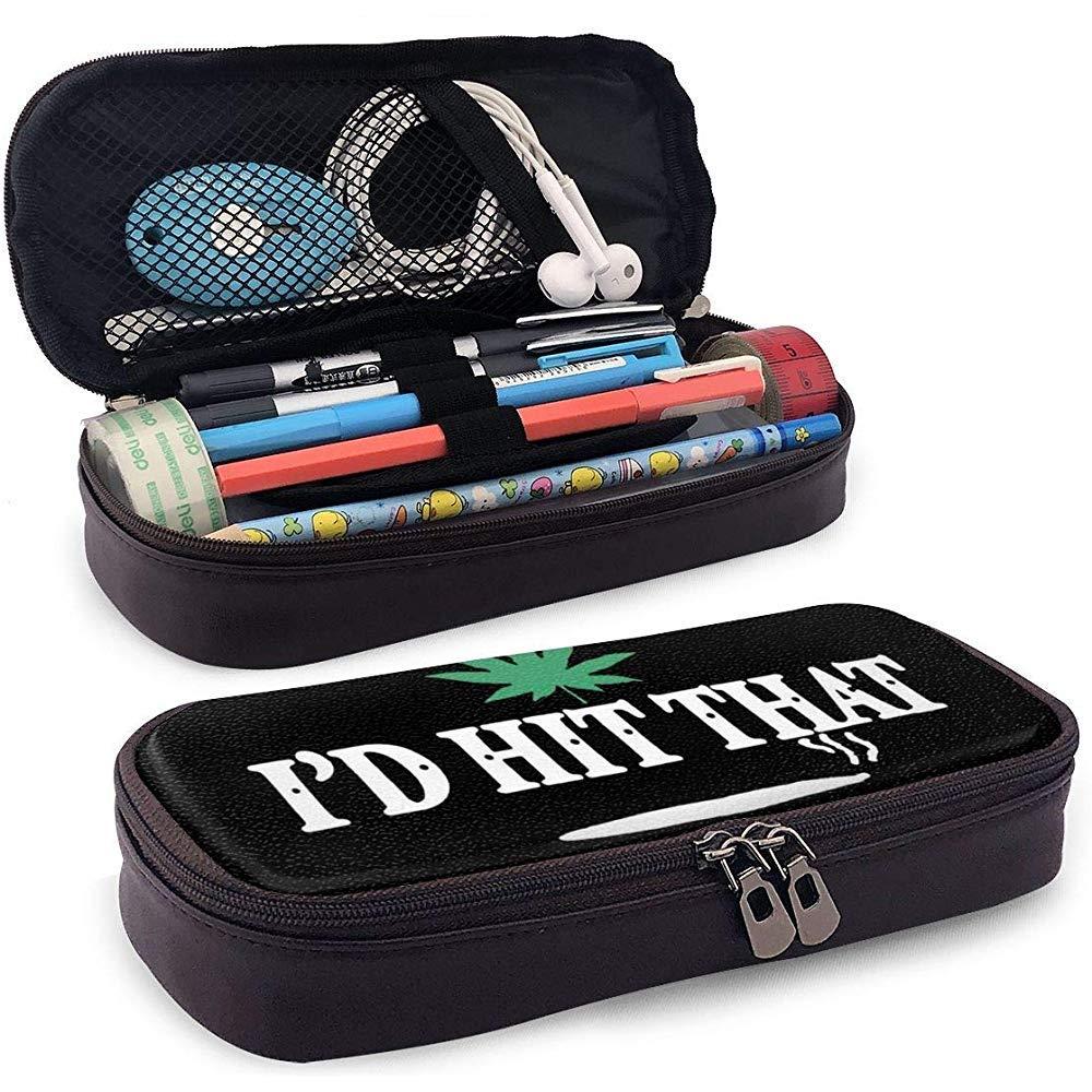 Estuche de lápices de cuero I Hit Hit Cannabis Pot Weed Pencil Bag Estuche para lápices Estuche para lápices: Amazon.es: Oficina y papelería