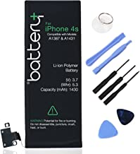 Battery+ - iPhone 4S - 3.7V 1430mAh Li-ion Replacement Battery, Free 8pcs Free Tools Kit Only for Apple iPhone 4S - 4S 8GB 16G 32G Model A1387 (check on the Back of your iPhone)