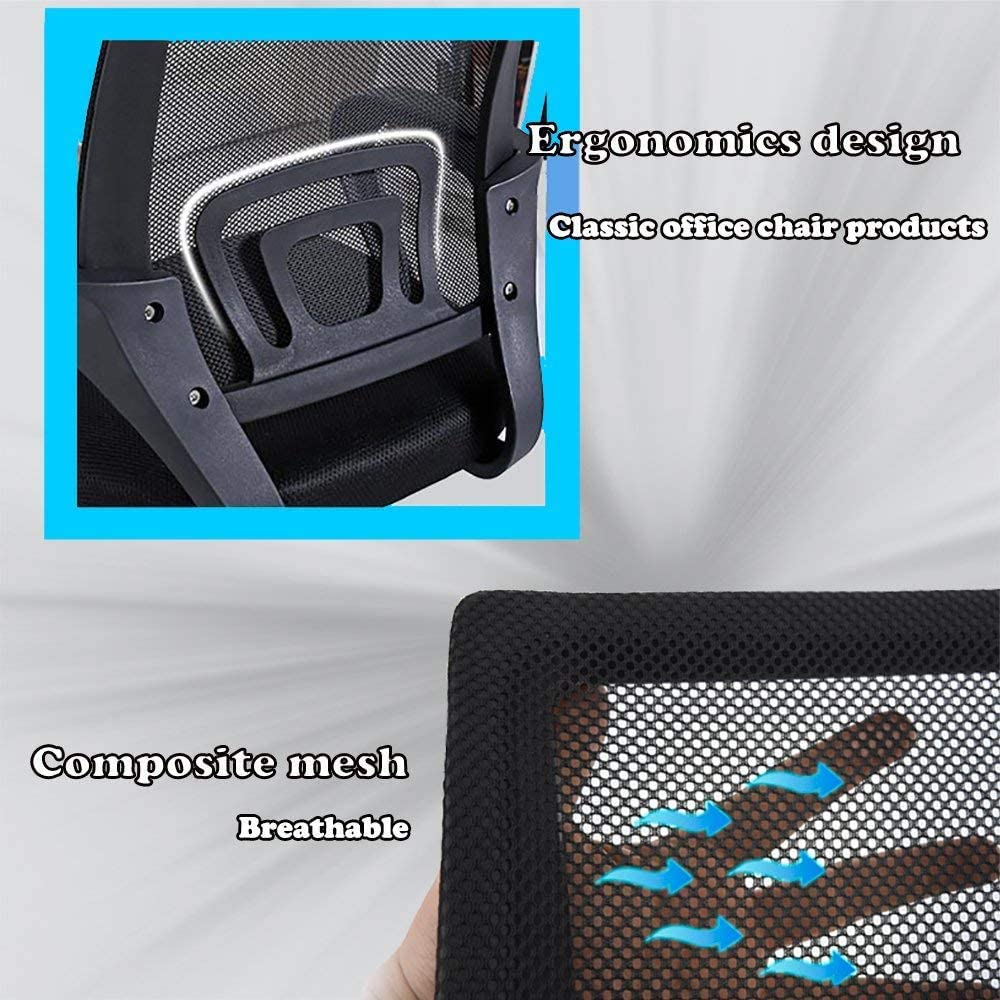 BAIDEFENG Chaise De Bureau Bureau Ergonomique, Chaise D'ordinateur en Maille Support Lombaire Tabouret Réglable Exécutif Moderne Chaise Pivotante De Roulement,Noir Black