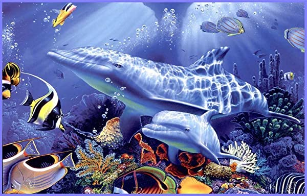 Underwater Dolphins Tropical Fish Coral Vinyl Stained Glass Film Static Cling Window Decal