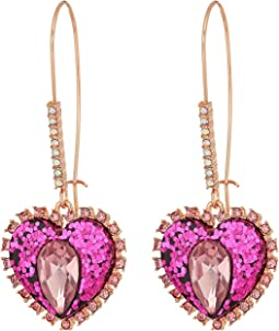 Betsey Johnson Two-Tone Pink Crystal Drop Earrings