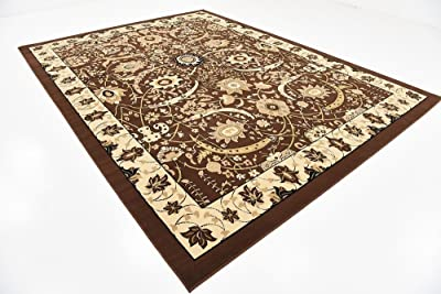 Unique Loom Espahan Collection Classic Traditional Brown Area Rug (9' 0 x 12' 0)