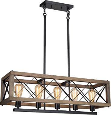 "LALUZ Farmhouse Chandelier, 5-Light Rectangular Chandeliers for Kitchen Island, 32"" Dining Room Light Fixture, Rustic Wood an"