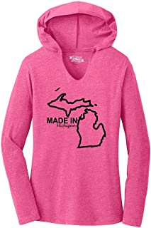 Ladies Made in Michigan Cute Home State Pride Tee Hoodie Shirt