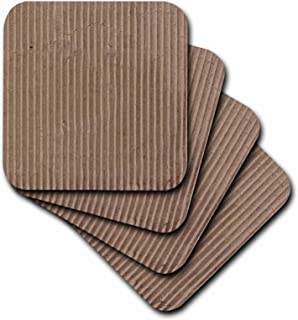 3dRose Beige Corrugated Cardboard Photo - Texture Photography - Brown Grunge Unusual Funny Offbeat - Soft Coasters, Set of 8 (CST_112997_2)