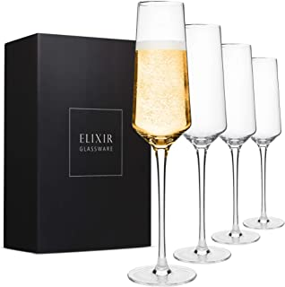 Classy Champagne Flutes - Hand Blown Crystal Champagne Glasses - Set of 4 Elegant Flutes, 100% Lead Free Premium Crystal -...