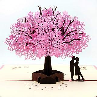 Tarjeta de San Valentín para novio/marido/novia/esposa/regalos de San Valentín para ella, tarjeta de regalo, tarjetas de cumpleaños, tarjetas de felicitación 3D con flores de cerezo