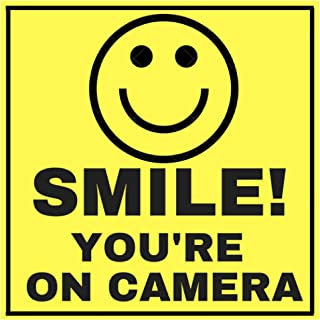"6 Smile Youre ON Camera Indoor Outdoor Stickers Decals - 3"" x 3"" -Laminated for Your Ultimate Protection & Durability - Self Adhesive Decal - UV Protected & Weatherproof - Heavy Duty"